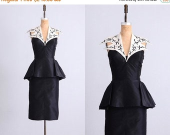 45% OFF SALE.... vintage 1950s dress • peplum dress • halter dress • tuxedo halter dress • vintage 50s dress