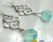 Scroll Aqua Chalcedony Earrings- Matte Gold Scroll Earrings- Matte Silver Scroll Earrings- Crystal Scroll Earrings- Golden Shadow-  EGS-SC1