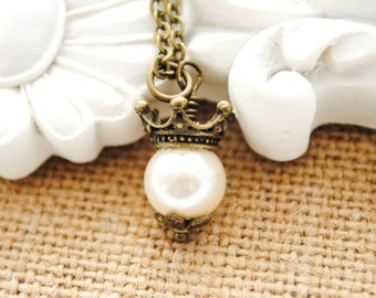 Pearl Princess Necklace - Girl Jewelry - Flower Girl Gift, Daughter Gift