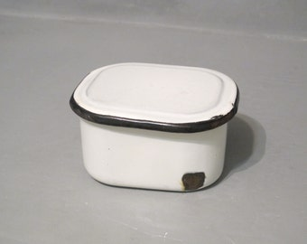 Vintage Porcelain Enamel Medical Container with Lid / Rustic Chippy Distressed Enamelware Storage Box Primitive Farmhouse Bathroom Decor