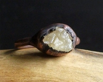 Raw Stone Crystal Ring Scapolite Copper Gemstone Midwest Alchemy Raw Ring Raw Stone Jewelry Ring Size 5.5