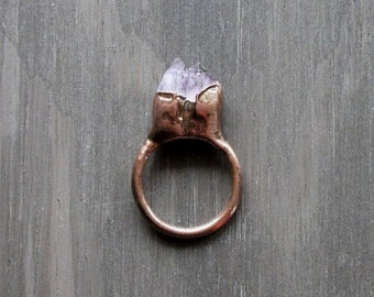 Rough Amethyst Ring Copper Gemstone Ring Size 8.5 February Birthstone Ring Raw Copper Ring Rough Stone Jewelry
