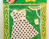 1970's Vintage La Boutique De Martine Made in Hong Kong Barbie Doll size clothes -  NOS 11 1/2 inch doll dress