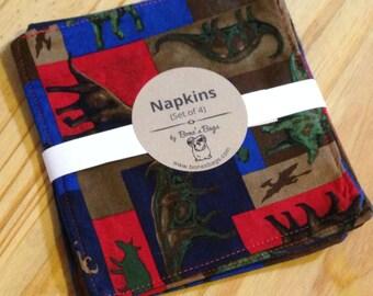 Cloth napkins, cotton napkins, reusable napkins, Kids Dinosaur Napkins - SET OF 4