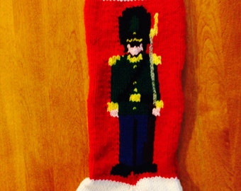 Toy Solider Christmas Stocking, Personalized Christmas Stocking, Knit Toy Solider Stocking, Personalize Toy Solder Stocking