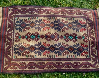 "REDUCED: Pretty Sagri rug/kilim from Afghanistan. 4ft 1 "" x 2 ft 7.   124 x 80 cm Hand woven."
