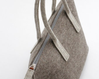 Light Brown Wool Felt Tote / Felt Bag / Tote Bag with Zipper / Handbags / Wool Felt Bag