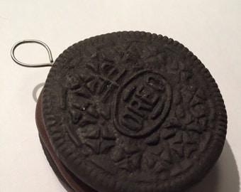 Handmade polymer clay milk chocolate filling oreo pendant