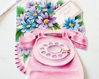 Pink Phone Tags - Set of 3 - Vintage Hello Tag - Retro Phone Tags - Flower Tags - Gift Tags - Thank Yous - Phone N Flowers - 1950's Tags