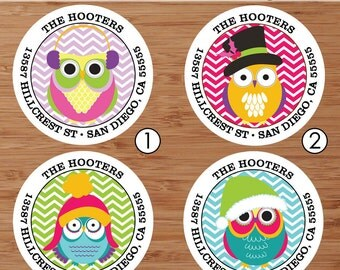 Winter Owls (Eight Designs) - Custom Address Labels or Stickers