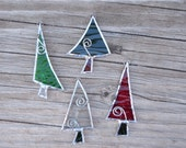 Stained Glass Christmas Tree Ornaments-Gift Wrapping-Holiday Decor-Tree Trimming-Window Decor-Winter-Handmade Glass Ornaments-Suncatchers