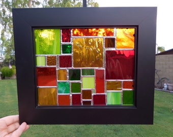 Stained Glass Panel with frame-Suncatcher-Window Decor-Anniversary-House Warming-Mothers Day-Fathers Day-Unique Gift-Handmade-Wedding Gift