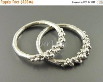 15% OFF 1602-MR (4 pcs) Matte rhodium plated bubbly ring pendants