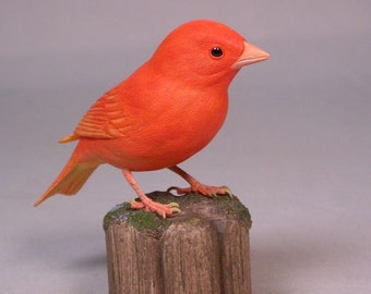 Red Factor Canary Hand Carved Wooden Bird