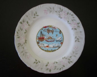 Morro Bay California Vintage Souvenir Small Sheffield China Plate Japan