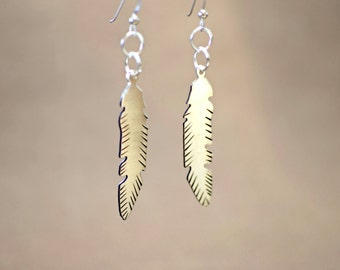Silver Feather Earrings Handsawed and Engraved for Rustic Artisan Beauty - Solid 925 Sterling Silver with Patinas - ER607