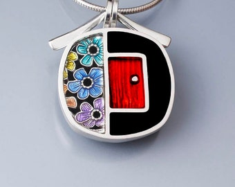 Ivy Woodrose sterling silver, PMC, and resin enamel red door pendant