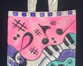 Hand Painted Canvas Music Tote. Music Bag. Book bag. Beach bag. Travel or more. Reusable Shop Bag, Eco Tote Bag, Reusable Grocery Bag