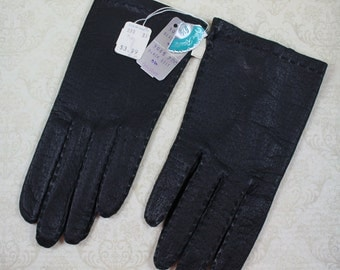 Vintage 1960s New Old Stock Black Leather Van Raalte Fastbacks Driving Gloves Size 6.5