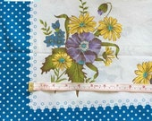 Vintage Floral Pillowcase with Blue Polka Dots