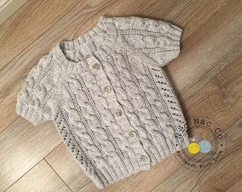 Cardigan with cables and Openwork, short sleeves, cotton (girls)