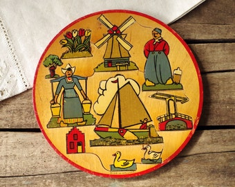 1950s Round Wood Dutch Puzzle - Child's Wooden Jigsaw Puzzle