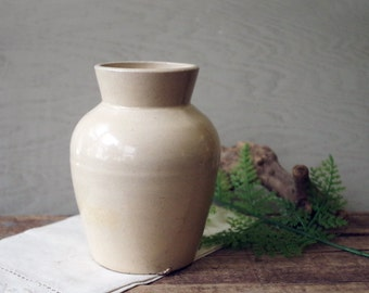 Antique Stoneware Weyman's Snuff Jar - Creamy White Stoneware Jug