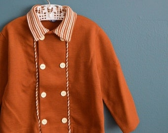 Vintage Toddler Boy's 1960s  Double Breasted Brown Knit Jacket - Size 2T