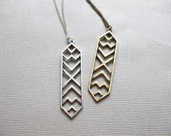 Aztec BRONZE Pendant Necklace Long Layering Necklace Simple Boho Style Long Necklace Modern Tribal Necklace Antique Bronze Antique Silver