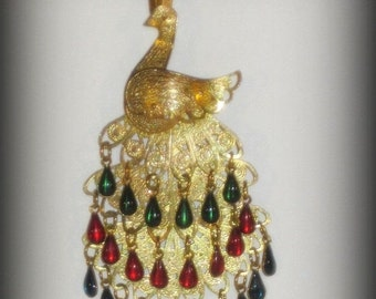 Valentines Lovers SALE Lovely Peacock Filigree Gold Tone Glass Drop Vintage Necklace