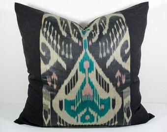 24x24, black green, ikat pillows, black cushion, ikat cushion, cushion, ikat pillow cover, ikats, 24x24 pillows, design pillow, decorative
