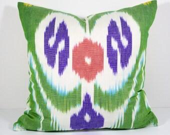 Green yellow purple 15x15 ikat pillow cover, ikat pillows, ikat cushions, green pillow cover cushion case, design pillow, green yellow ikat