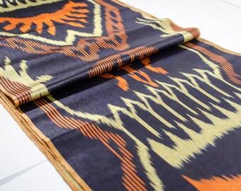 ikat, table runner, ikat table cloth, ikat fabric by the yard, ikat fabric, orange ikat, orange, black, cream, ikat curtain, Silkway, shop