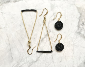 Raw Brass and Thread Earring Gift Set