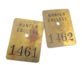 Vintage Hunter College Locker Tags // 1461/1462