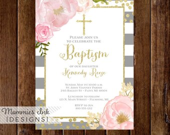 Watercolor Peonies Baptism Invitation, Gray Stripes Religious Invite, Watercolor Pink Roses, Gold Glitter, Communion Invitation