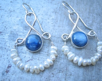 Kyanite and Pearl Hinged Dangle Earring with a Victorian Essense, Hand Fabricated