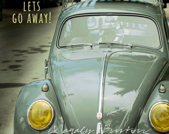 Shabby Chic, Vintage Volkswagen Beetle, Antique Car, Fine Art, Collectors Automobile, Free Shipping in USA