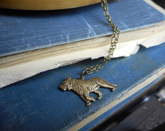On The Hunt. Rustic Antiqued Brass Tiger Necklace