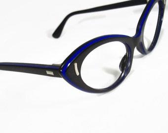 Vintage 50s Women's Black Pointy Tortoise Cateye Eyeglasses Eyewear NOS