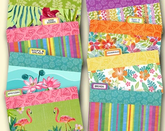 Recipe Card Dividers coordinates with Tropical Flamingo Recipe Box