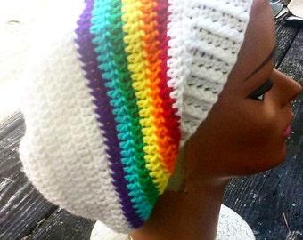 White rainbow slouch beanie hat