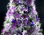 Mini Tabletop Christmas Tree - Purple and Silver - 22 inches - 50 Clear Mini Lights - Tree Skirt - Presents - Reserved for fusciafrog