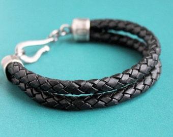 Mens Black Leather Bracelet Double Braid, Sterling Silver Clasp