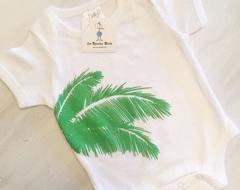 Palm Tree Fronds Organic Cotton Baby Bodysuit