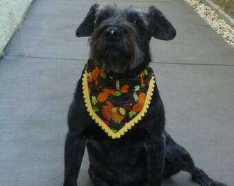 """Dog Bandana, Pet Bandana, Dog Scrunchie, Dog Scarf, Pretty Turkey Fancy Bandanchy with tiny yellow pom pom trim - Size L: 16"""" to 18"""" neck"""