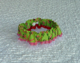 "Christmas Dog Collar, Dog Bandana, Candy Canes on Lime Green Dog Scrunchie with organza and ribbon ruffle - Size L: 16"" to 18"" neck"