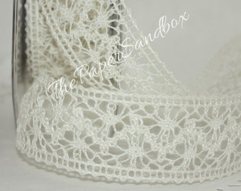 "Ivory Crochet Lace Ribbon, 1.5"" wide by the yard, Weddings, Lace Trim, Ivory Lace Trim, Sewing, Gift Wrapping, Bouquets, Wreaths"