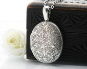RESERVED FOR HP - Antique Locket Sterling Silver | Large Oval Victorian Locket | Engraved Ivy Love Token | Oval Photo Locket - 34 Inch Chain