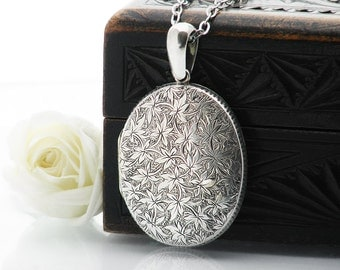 Antique Locket Sterling Silver | Large Oval Victorian Locket | Engraved Ivy Love Token | Oval Photo Locket Necklace - 34 Inch Long Chain